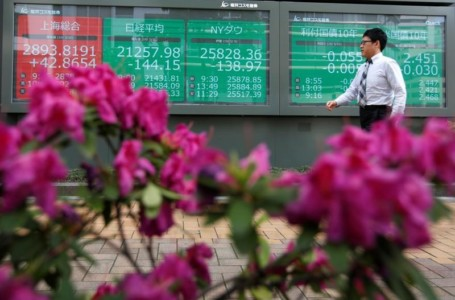 Asian stocks shaky before Powell's speech as growth woes weigh